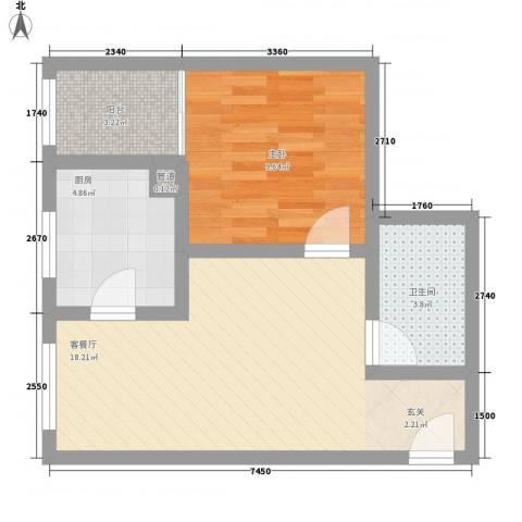 庄前新村1室1厅1卫1厨47.00㎡户型图