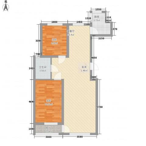 古耕景和园2室1厅1卫1厨96.00㎡户型图
