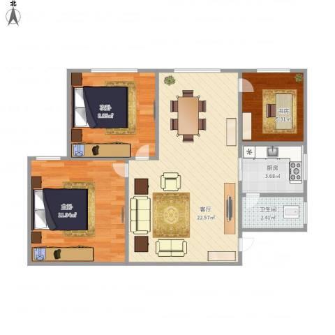 张家花园13-23室1厅1卫1厨74.00㎡户型图