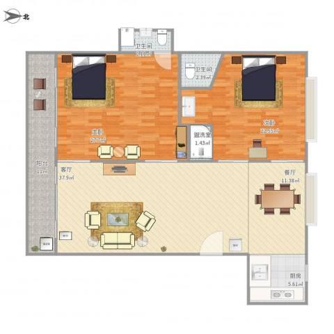 椰风海韵度假公寓2室3厅2卫1厨159.00㎡户型图