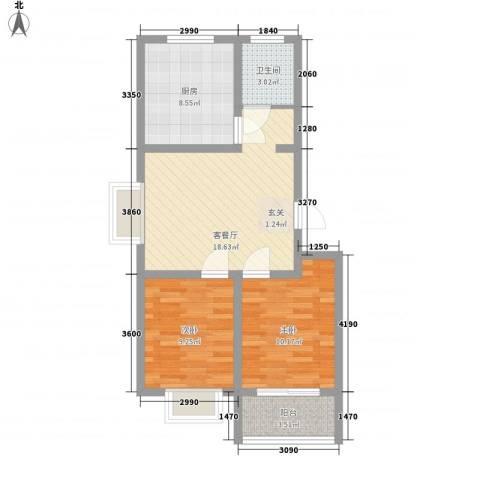 永安花园2室1厅1卫1厨78.00㎡户型图