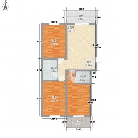 鹭江海景花园3室1厅2卫1厨124.00㎡户型图