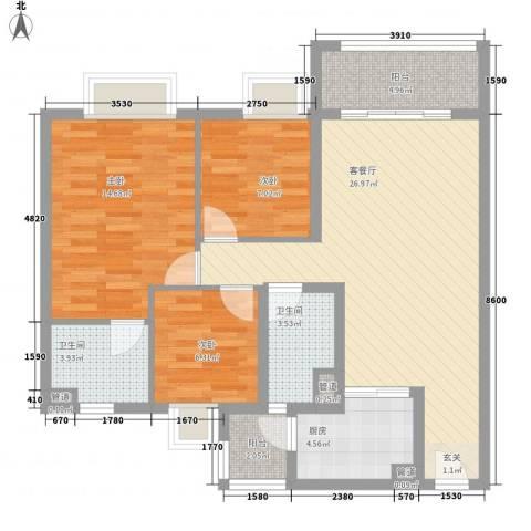 保利公园九里3室1厅2卫1厨107.00㎡户型图