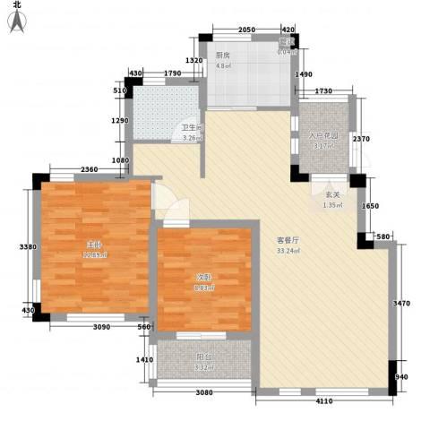 蓉湖山水2室1厅1卫1厨100.00㎡户型图