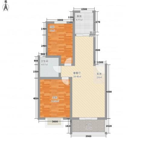 怡华香缇丽舍2室1厅1卫1厨87.00㎡户型图