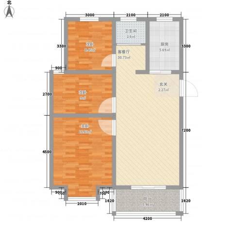 怡华香缇丽舍3室1厅1卫1厨78.77㎡户型图