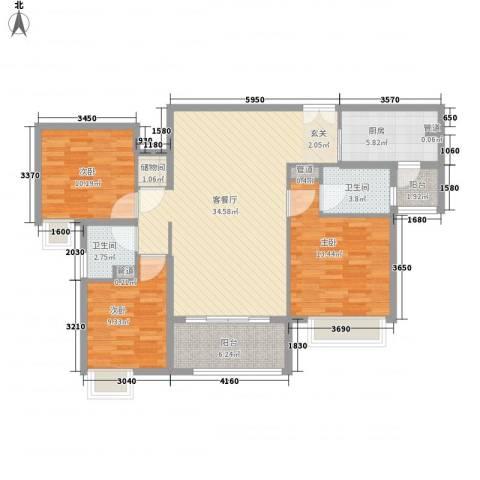 保利公园九里3室1厅2卫1厨128.00㎡户型图