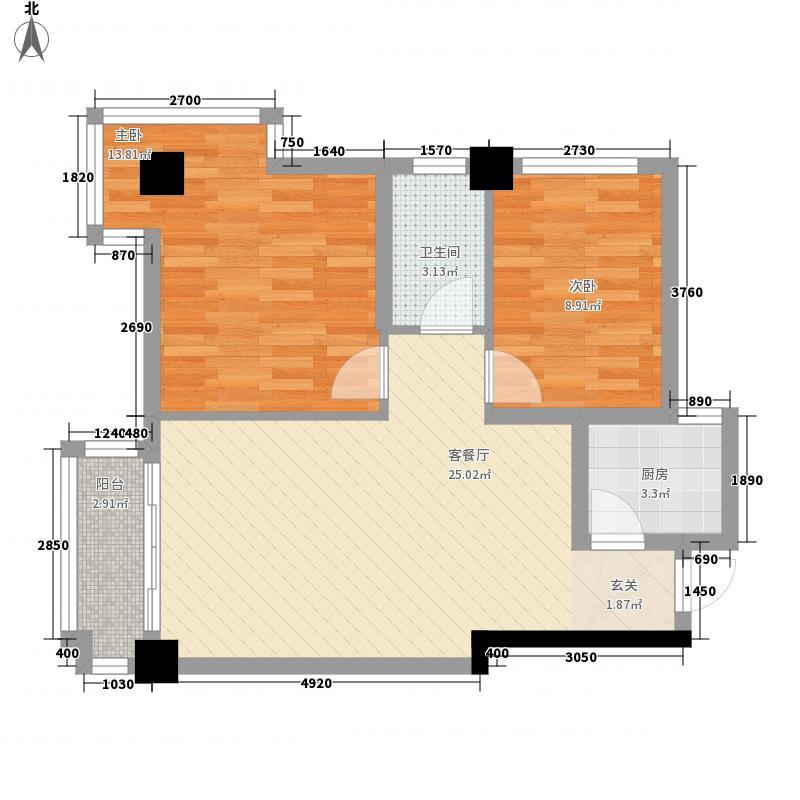 时代财富城82.00㎡D-财富公馆D座户型2室2厅1卫