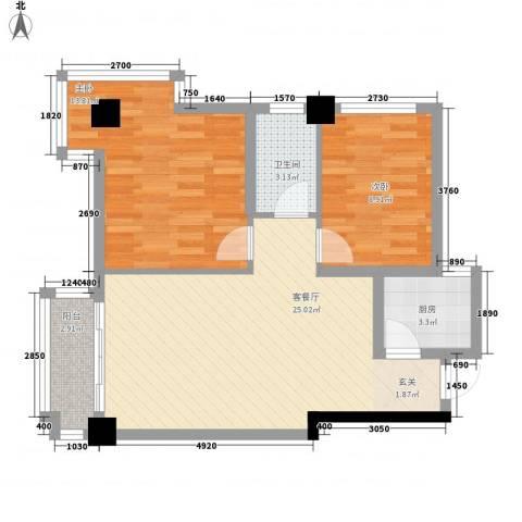 时代财富城2室1厅1卫1厨82.00㎡户型图