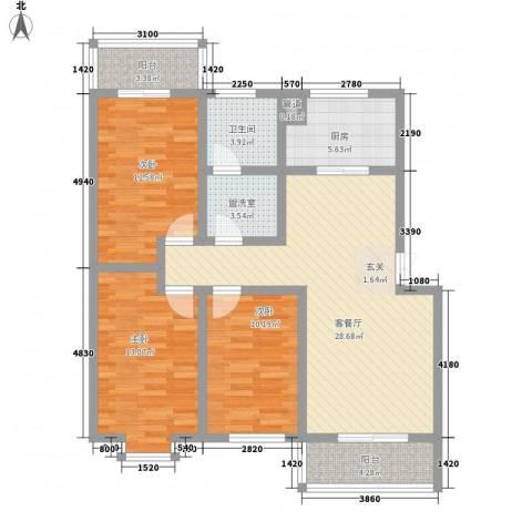 熙春花园3室1厅1卫1厨125.00㎡户型图