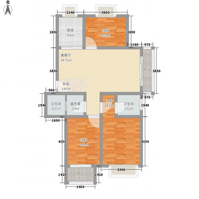 华鹏馨苑115.00㎡户型2室2厅1卫1厨