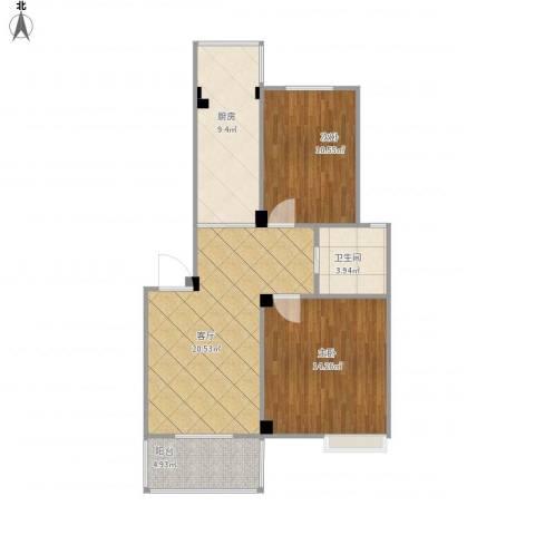 梁祝小区2室1厅1卫1厨86.00㎡户型图
