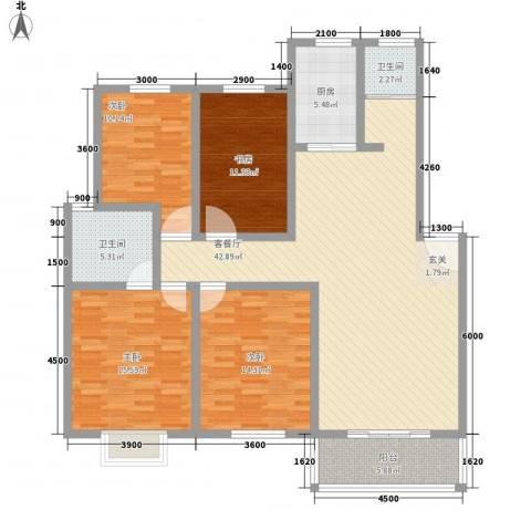 怡华香缇丽舍4室1厅2卫1厨113.21㎡户型图