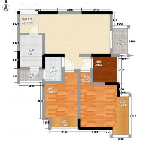 融汇温泉城锦华里3室1厅1卫1厨72.00㎡户型图
