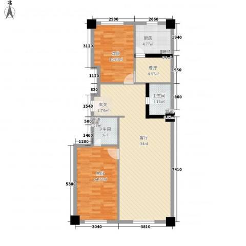 白菊时代华庭2室2厅2卫1厨106.00㎡户型图