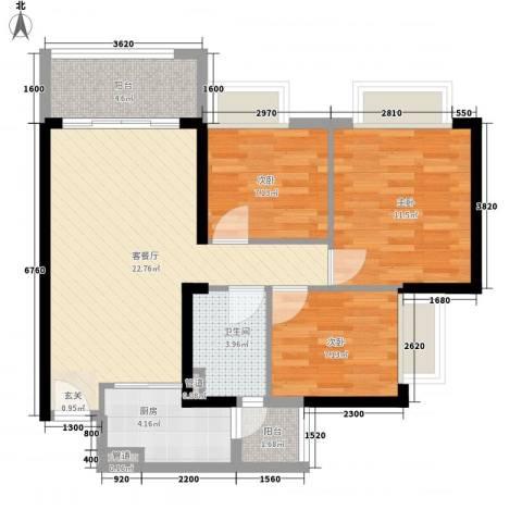 保利公园九里3室1厅1卫1厨91.00㎡户型图