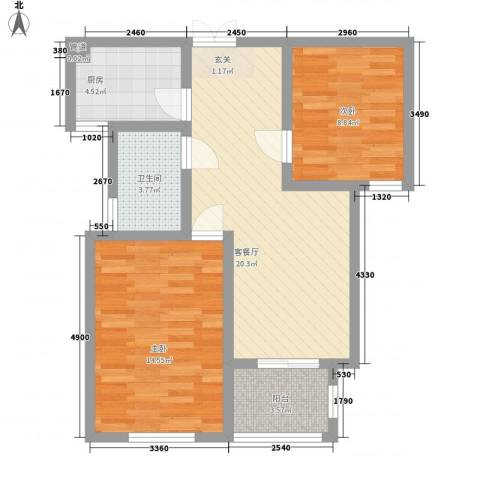 七彩云山2室1厅1卫1厨82.00㎡户型图