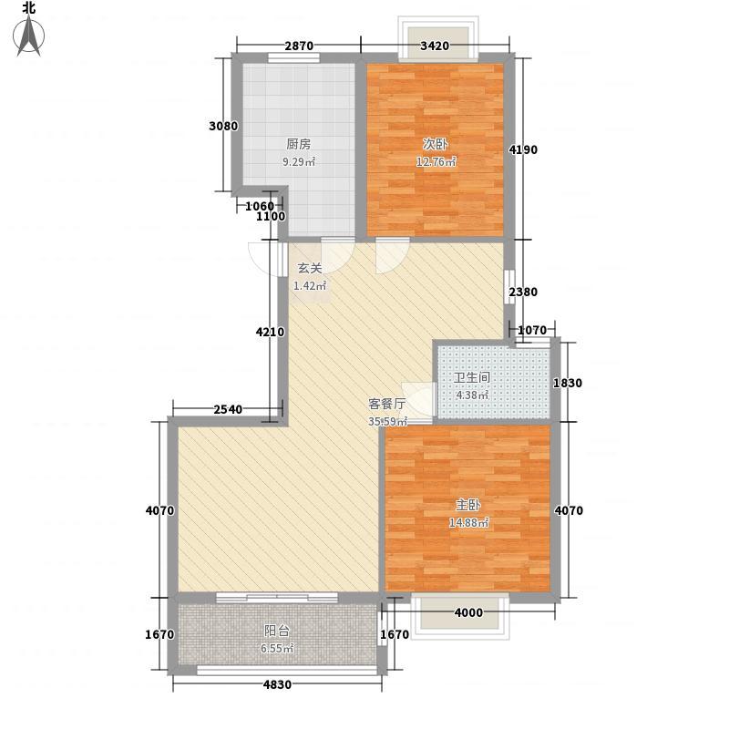 盛景嘉园117.75㎡高层D户型2室2厅1卫