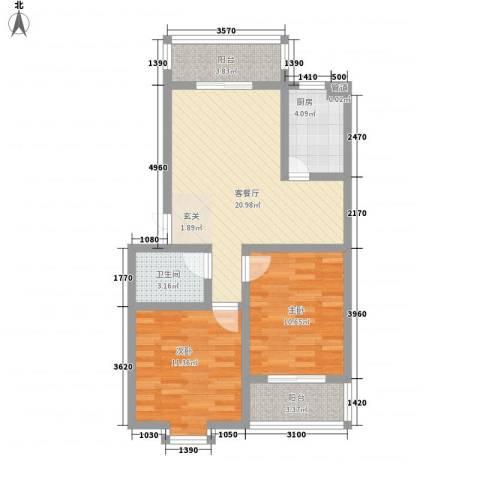熙春花园2室1厅1卫1厨86.00㎡户型图