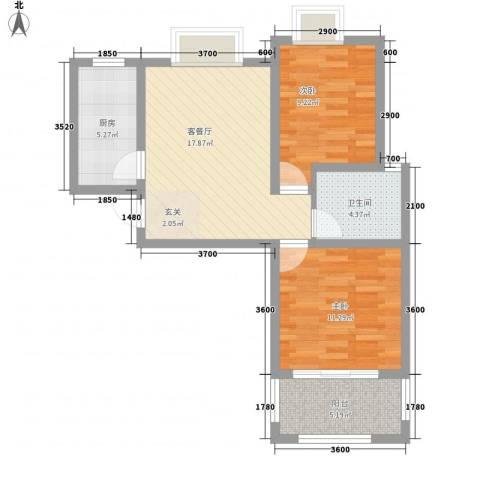 南郡明珠2室1厅1卫1厨71.00㎡户型图