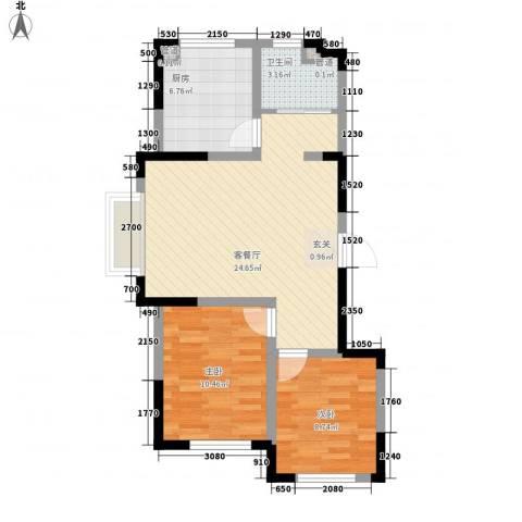 雍达华仁公馆2室1厅1卫1厨78.00㎡户型图