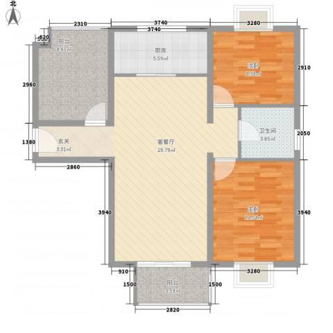 水岸新城2室1厅1卫1厨100.00㎡户型图