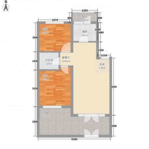 源泉海景公寓2室1厅1卫1厨78.00㎡户型图
