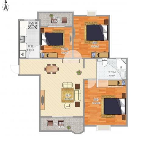 合生杭州湾国际新城3室1厅1卫1厨107.00㎡户型图