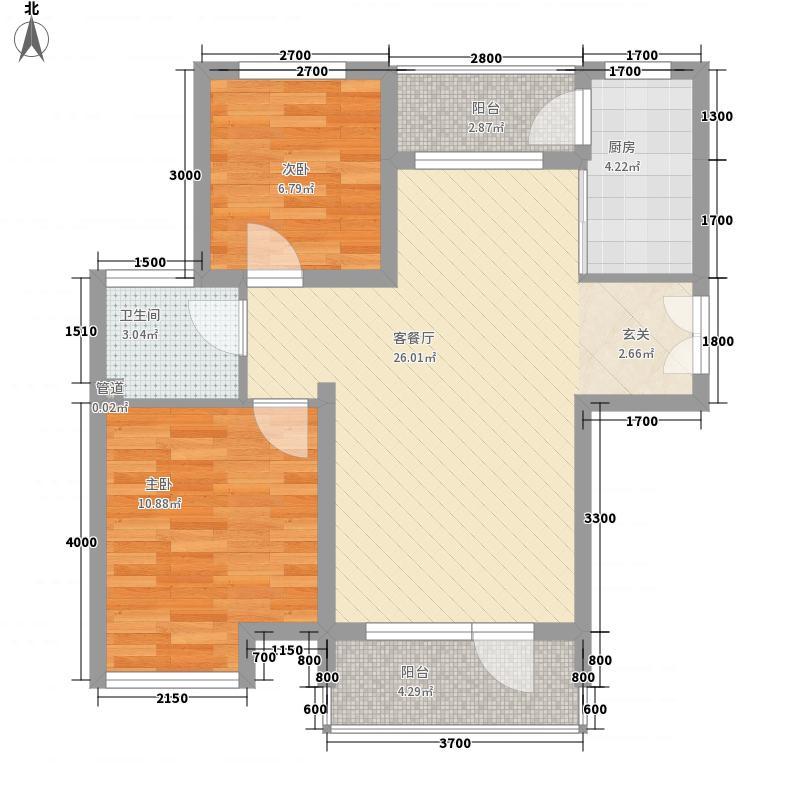 碧海鹏城83.42㎡一期住宅E户型2室2厅1卫1厨