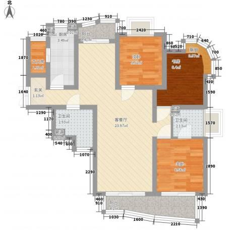 香江生态丽景3室1厅2卫1厨88.00㎡户型图