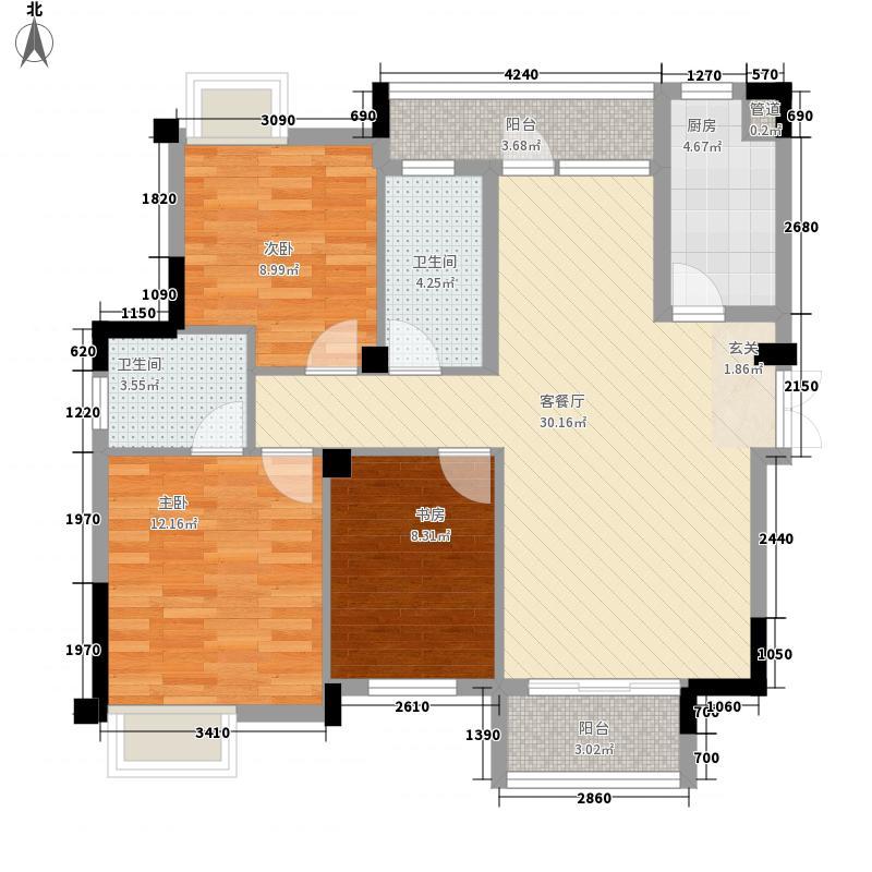 恒泰城品113.00㎡恒泰城品户型图8#11#标准层D3户型3室2厅2卫1厨户型3室2厅2卫1厨