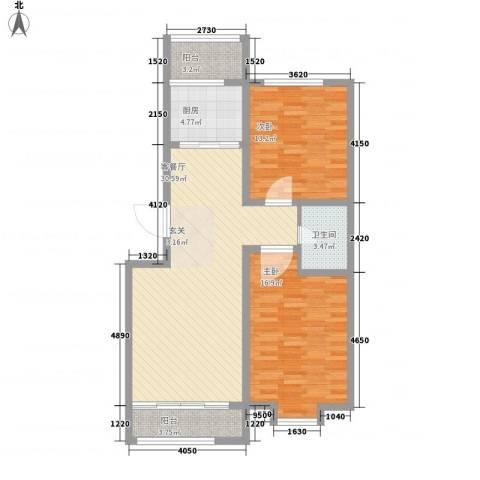 尚港华府2室1厅1卫1厨109.00㎡户型图
