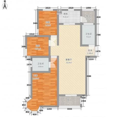 七彩云山3室1厅2卫1厨121.00㎡户型图