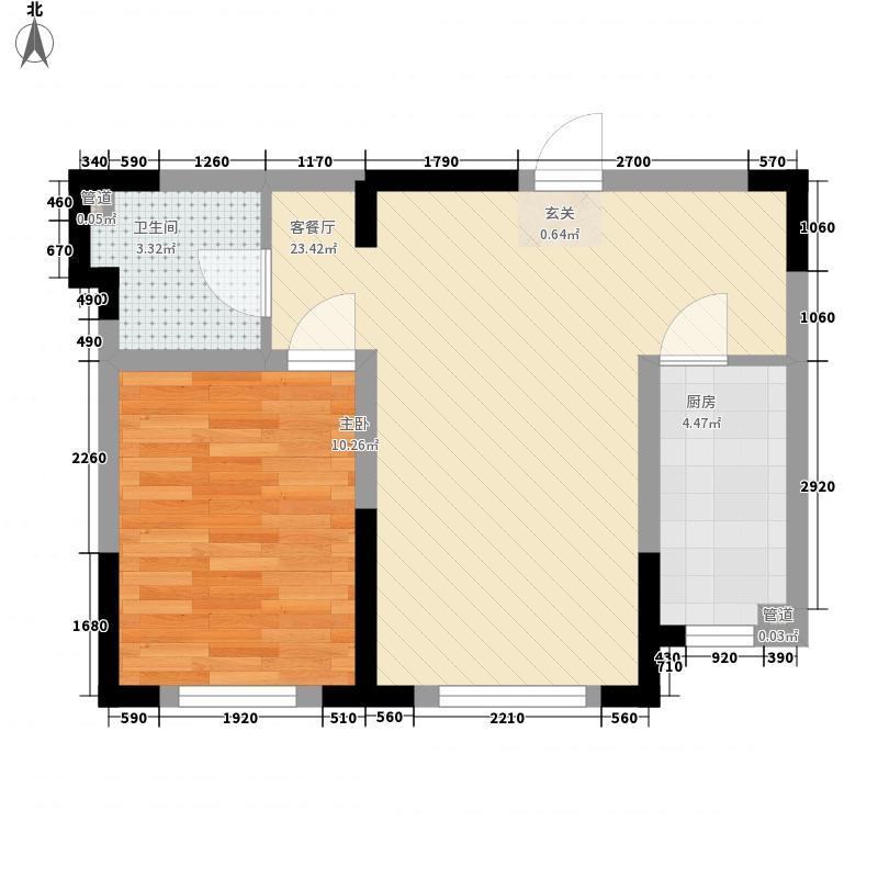 阳光上城雅居56.00㎡1#、4#、7#楼B户型1室1厅1卫