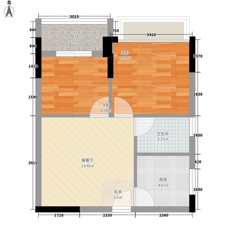 隆升商城52.66㎡2#2户型2室1厅1卫1厨