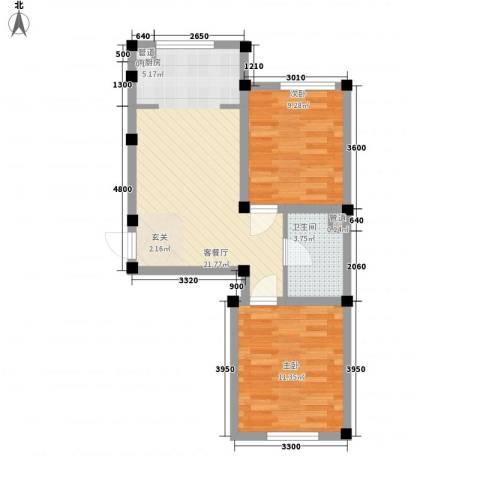 阳光上城雅居2室1厅1卫0厨64.00㎡户型图