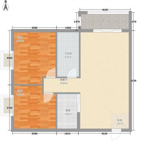 汉华花园2室1厅1卫1厨105.00㎡户型图