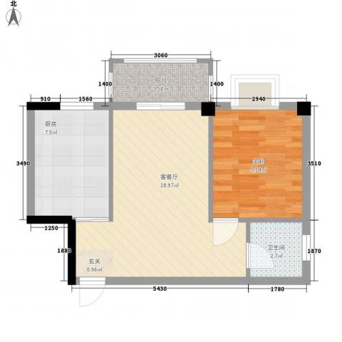 五里汉城1室1厅1卫1厨47.41㎡户型图