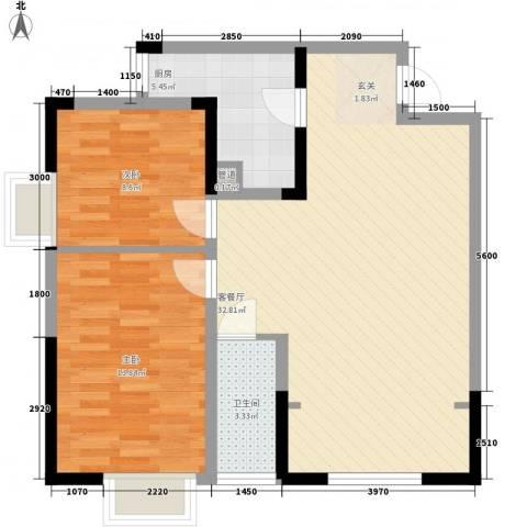 四季花园2室1厅1卫1厨91.00㎡户型图
