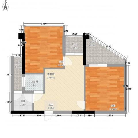 IP菁英时代2室1厅1卫1厨70.00㎡户型图