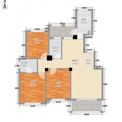 金港花园3室1厅2卫1厨123.00㎡户型图
