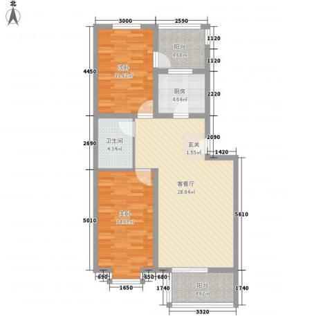 凝瑞苑2室1厅1卫1厨86.00㎡户型图