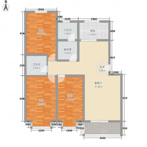 凝瑞苑3室2厅2卫1厨135.00㎡户型图