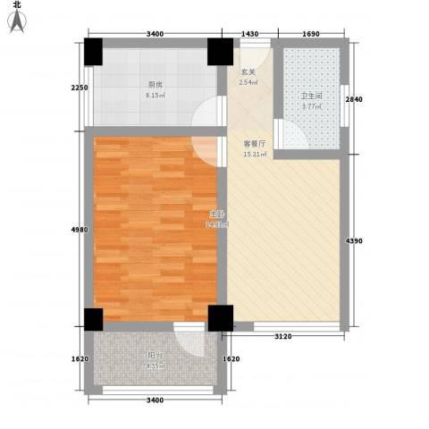 华都凤凰山庄1室1厅1卫1厨66.00㎡户型图