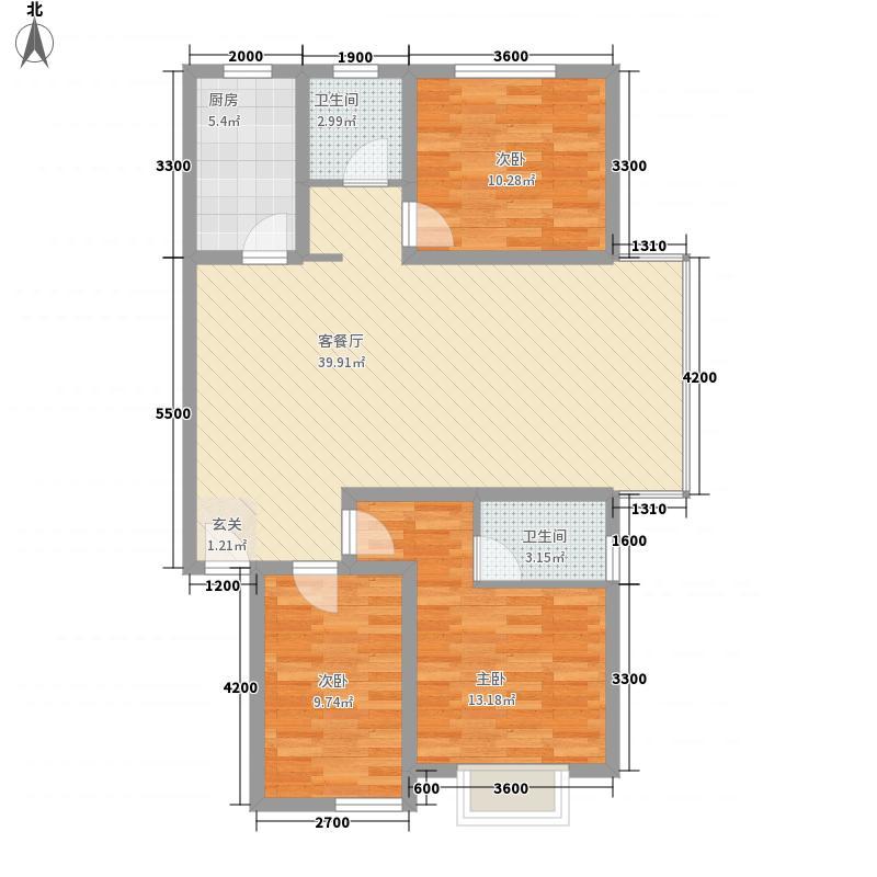 龙景尚都126.32㎡D户型3室2厅2卫1厨