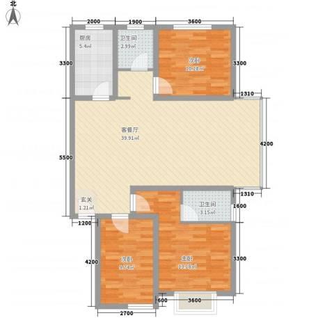 龙景尚都3室1厅2卫1厨126.00㎡户型图