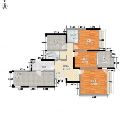 大唐世纪豪庭3室1厅2卫1厨136.00㎡户型图