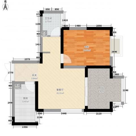大唐世纪豪庭1室1厅1卫1厨73.00㎡户型图