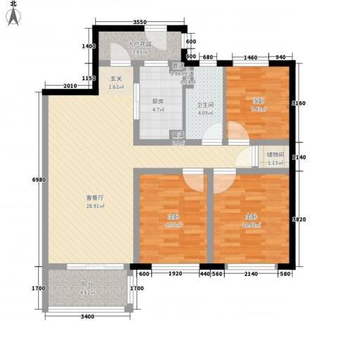 金域蓝湾3室1厅1卫1厨111.00㎡户型图