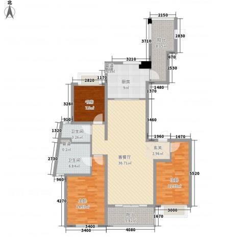 金域蓝湾3室1厅2卫1厨150.00㎡户型图